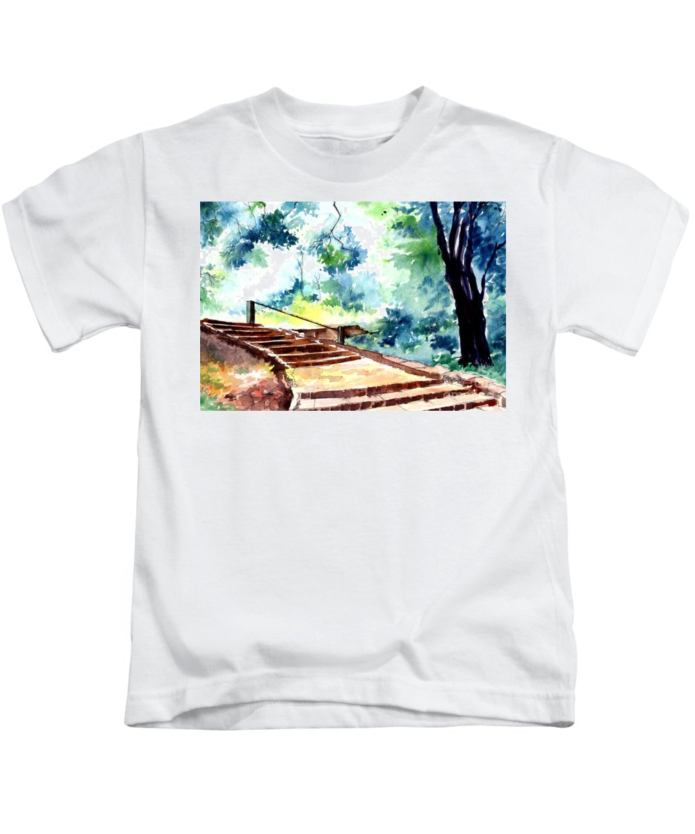 Landscape Kids T-Shirt featuring the painting Steps to eternity by Anil Nene