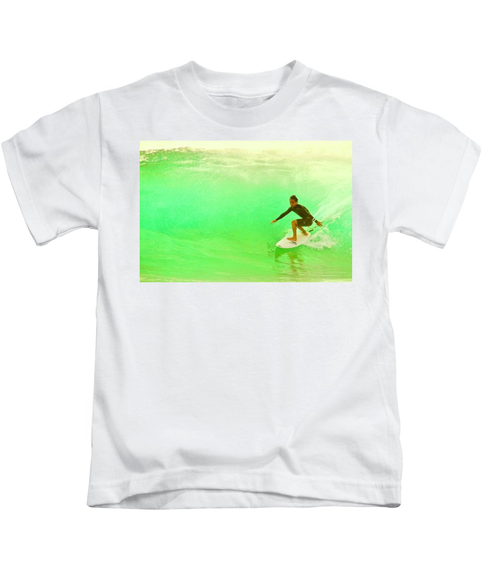 Surf Kids T-Shirt featuring the photograph Stick It by Mike Judice