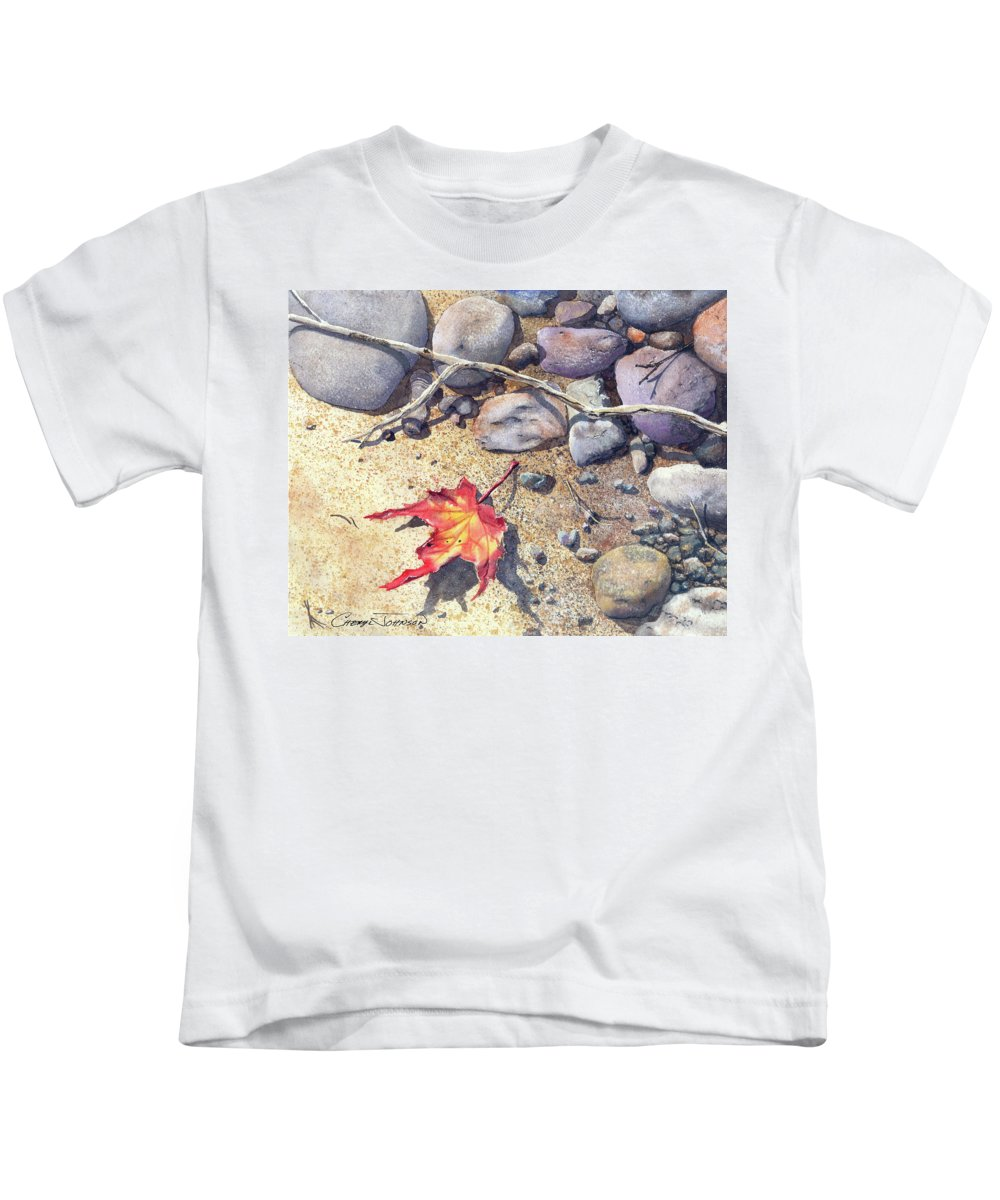 Maple Leaf Kids T-Shirt featuring the painting Sticks And Stones by Cheryl Johnson