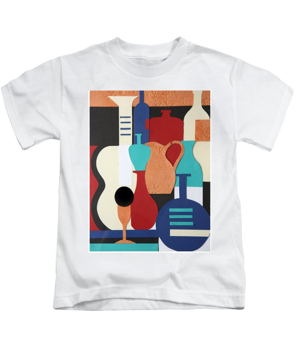 Still Life Kids T-Shirt featuring the mixed media Still Life Paper Collage Of Wine Glasses Bottles And Musical Instruments by Mal Bray