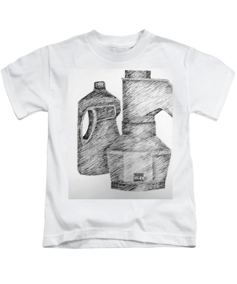 Still Life Kids T-Shirt featuring the drawing Still Life With Popcorn Maker And Laundry Soap Bottle by Michelle Calkins