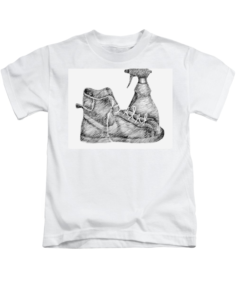Pen Kids T-Shirt featuring the drawing Still Life With Shoe And Spray Bottle by Michelle Calkins