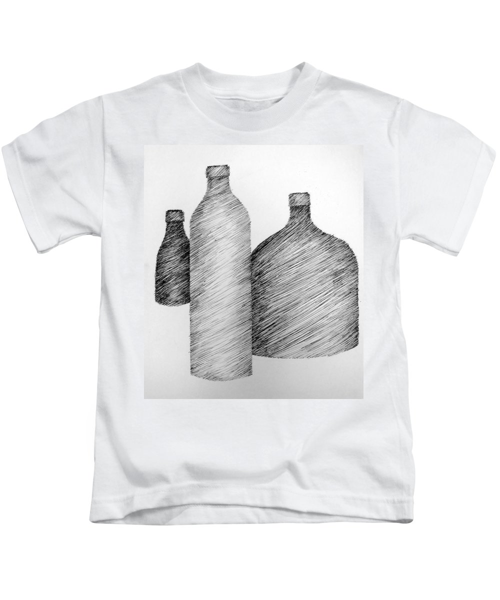 Still Life Kids T-Shirt featuring the drawing Still Life With Three Bottles by Michelle Calkins
