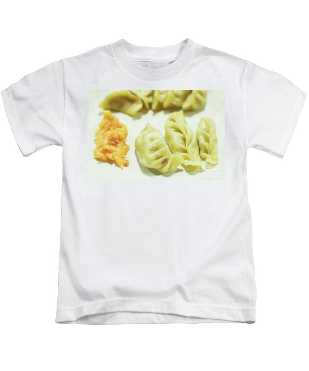 Momo Kids T-Shirt featuring the photograph Stock Image For Momo Vegetable Dish India by Rudra Narayan Mitra