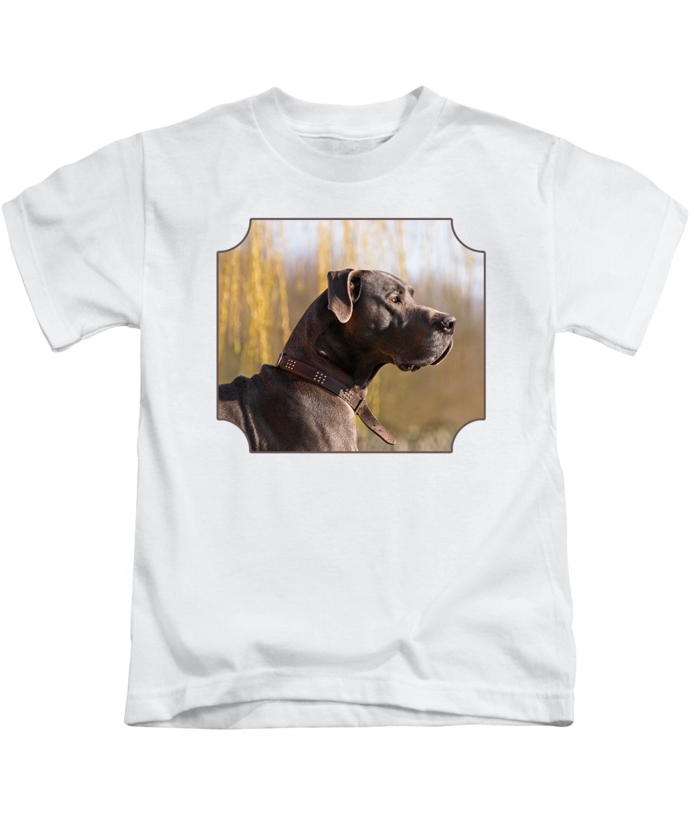 Great Dane Kids T-Shirt featuring the photograph Storm The Great Dane by Gill Billington