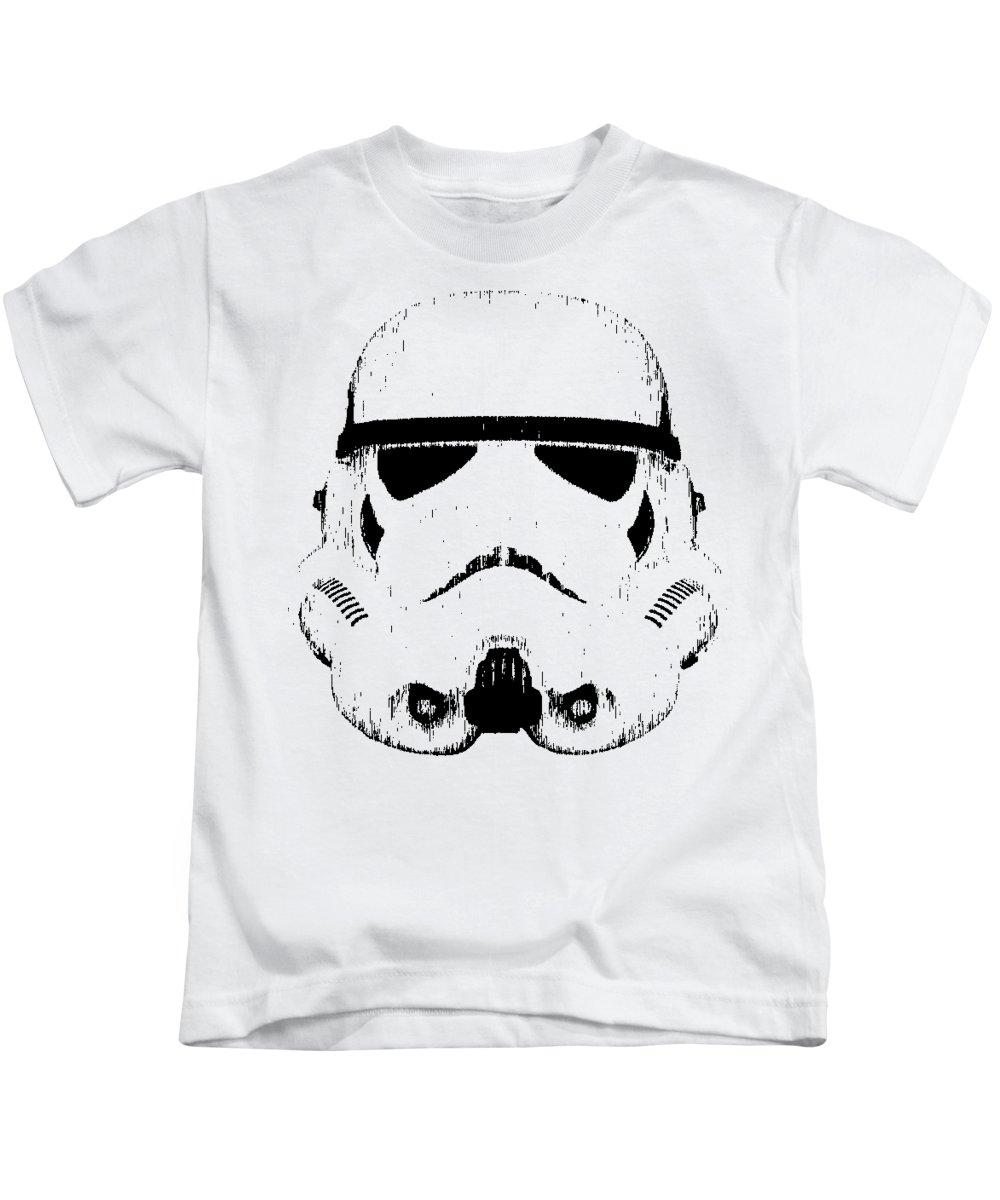 Star Wars Kids T-Shirt featuring the digital art Stormtrooper Helmet Star Wars Tee Black Ink by Edward Fielding