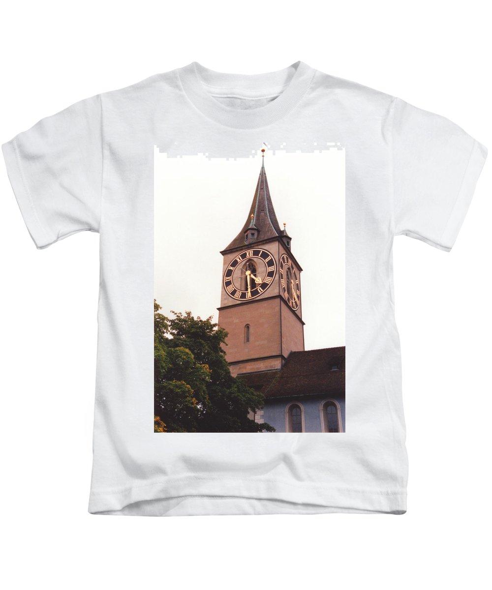 St.peter Kids T-Shirt featuring the photograph St.peter Church Clock In Zurich Switzerland by Susanne Van Hulst