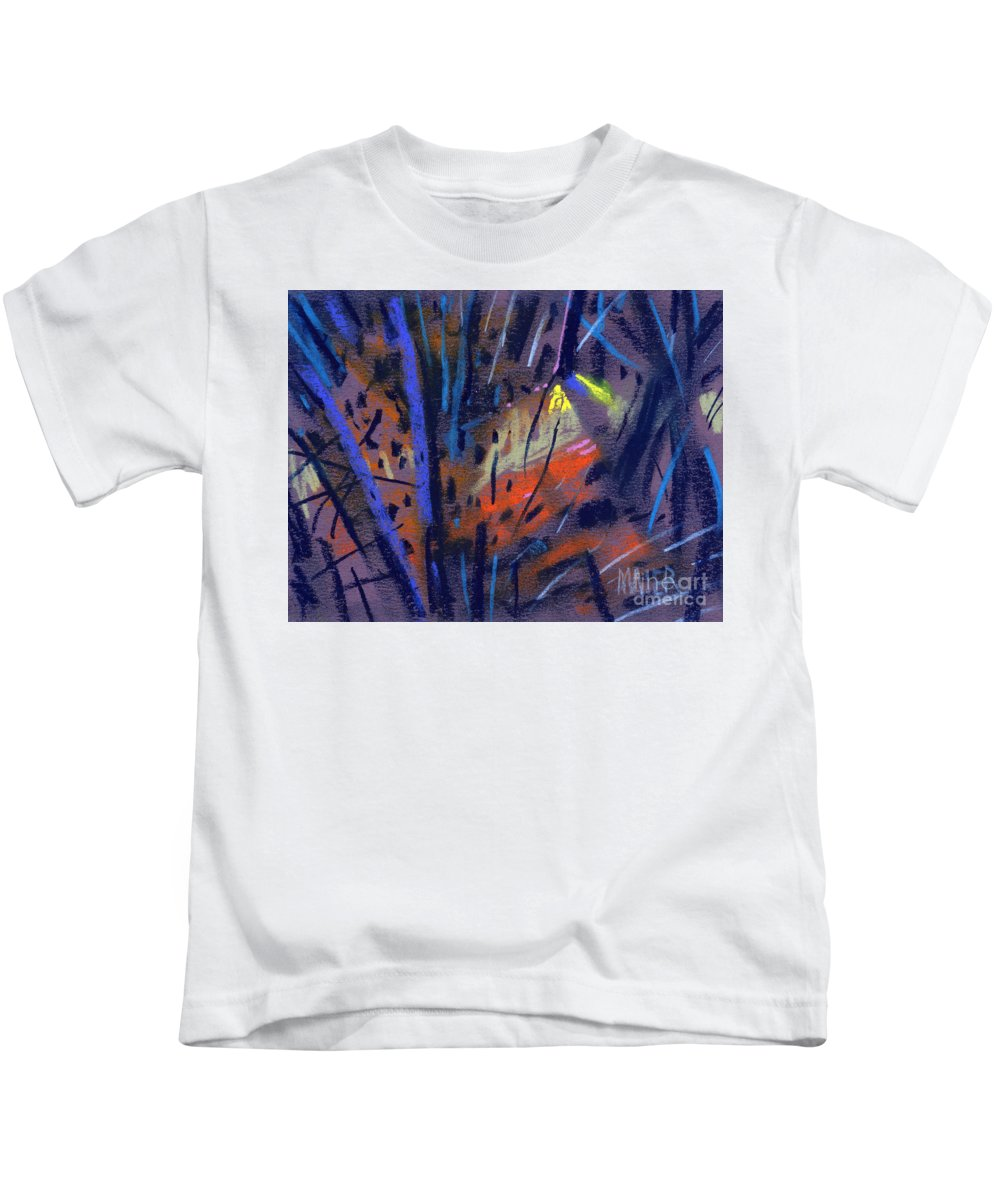 Abstract Kids T-Shirt featuring the drawing strange Lights by Donald Maier