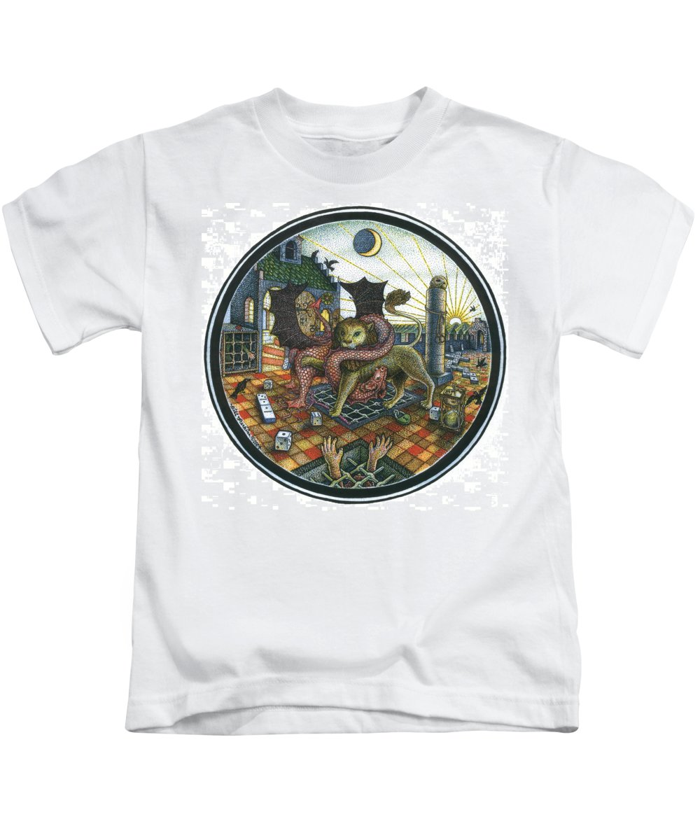 Dragon Kids T-Shirt featuring the drawing Strange Reverie by Bill Perkins