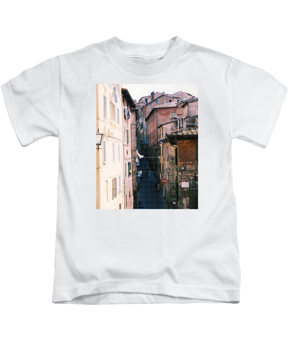 Italy Kids T-Shirt featuring the photograph Streets Of Siena Photograph by Kimberly Walker