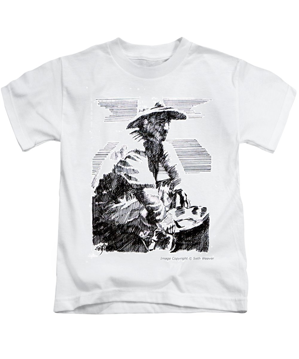 1850's Old West Kids T-Shirt featuring the drawing Striking It Rich by Seth Weaver