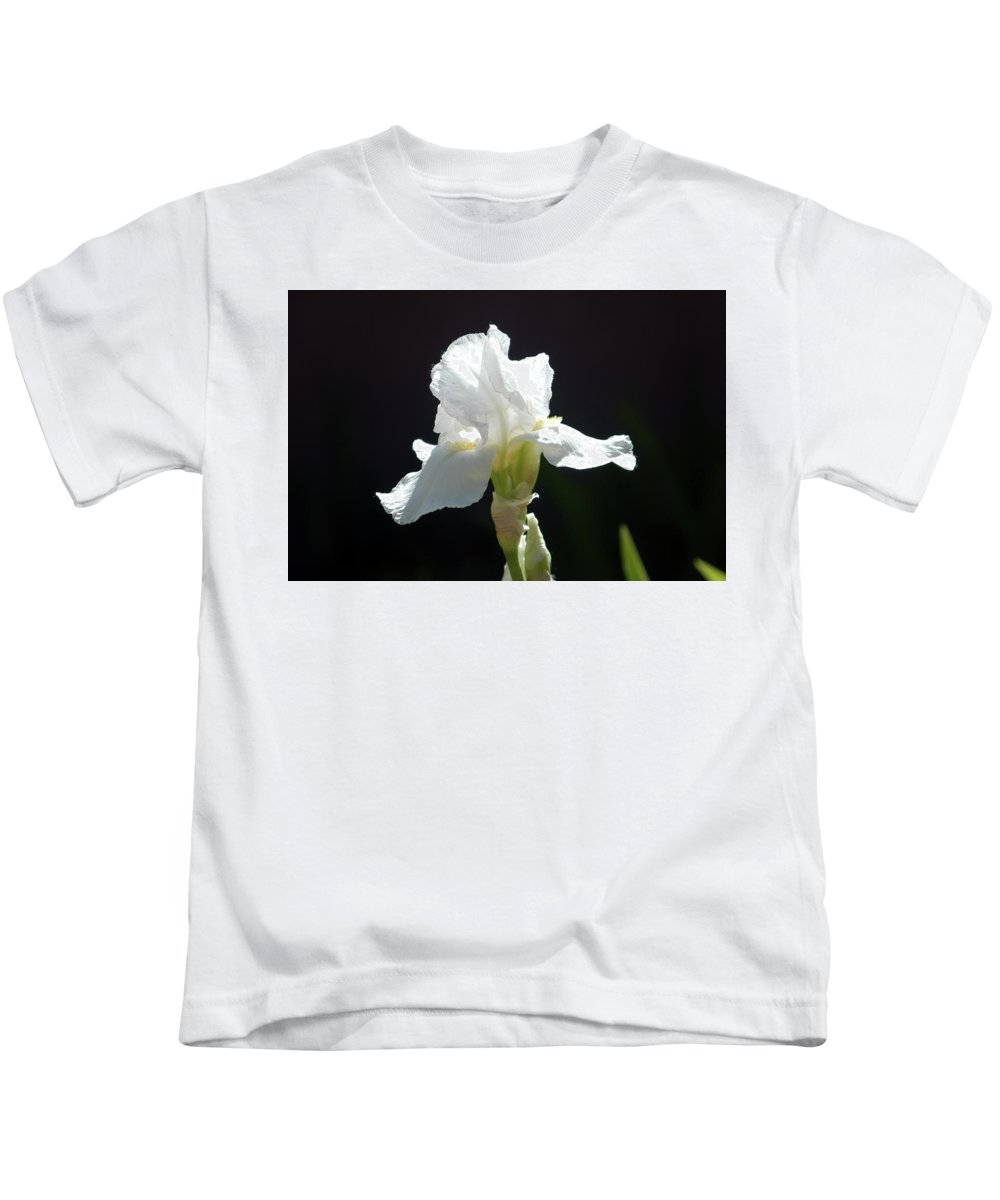Iris Kids T-Shirt featuring the photograph Striking White Iris by Alynne Landers