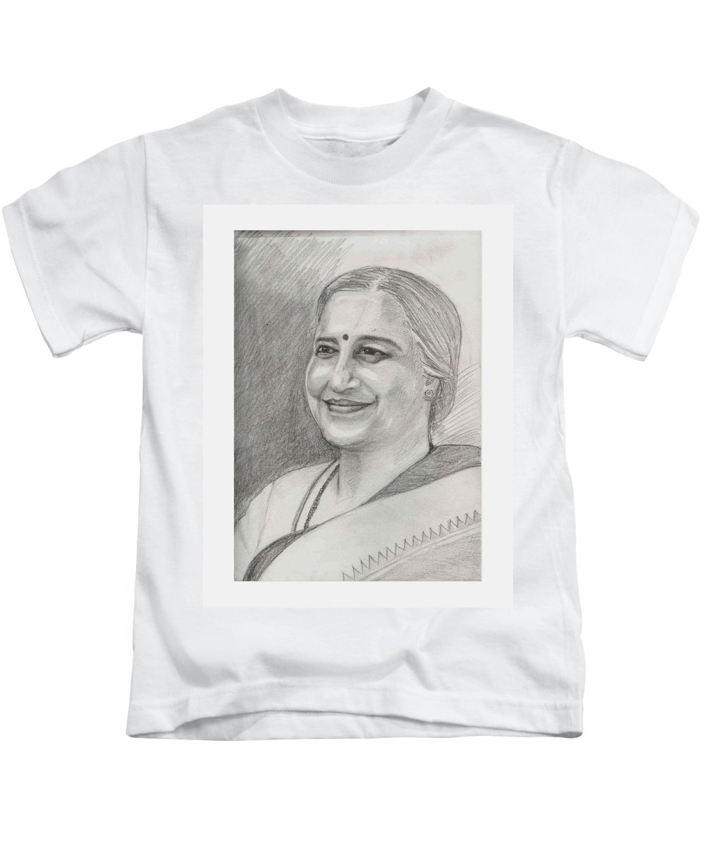 Sudha Narayanamurthy Kids T-Shirt featuring the drawing Sudha Murthy A Philanthropist by Asha Sudhaker Shenoy