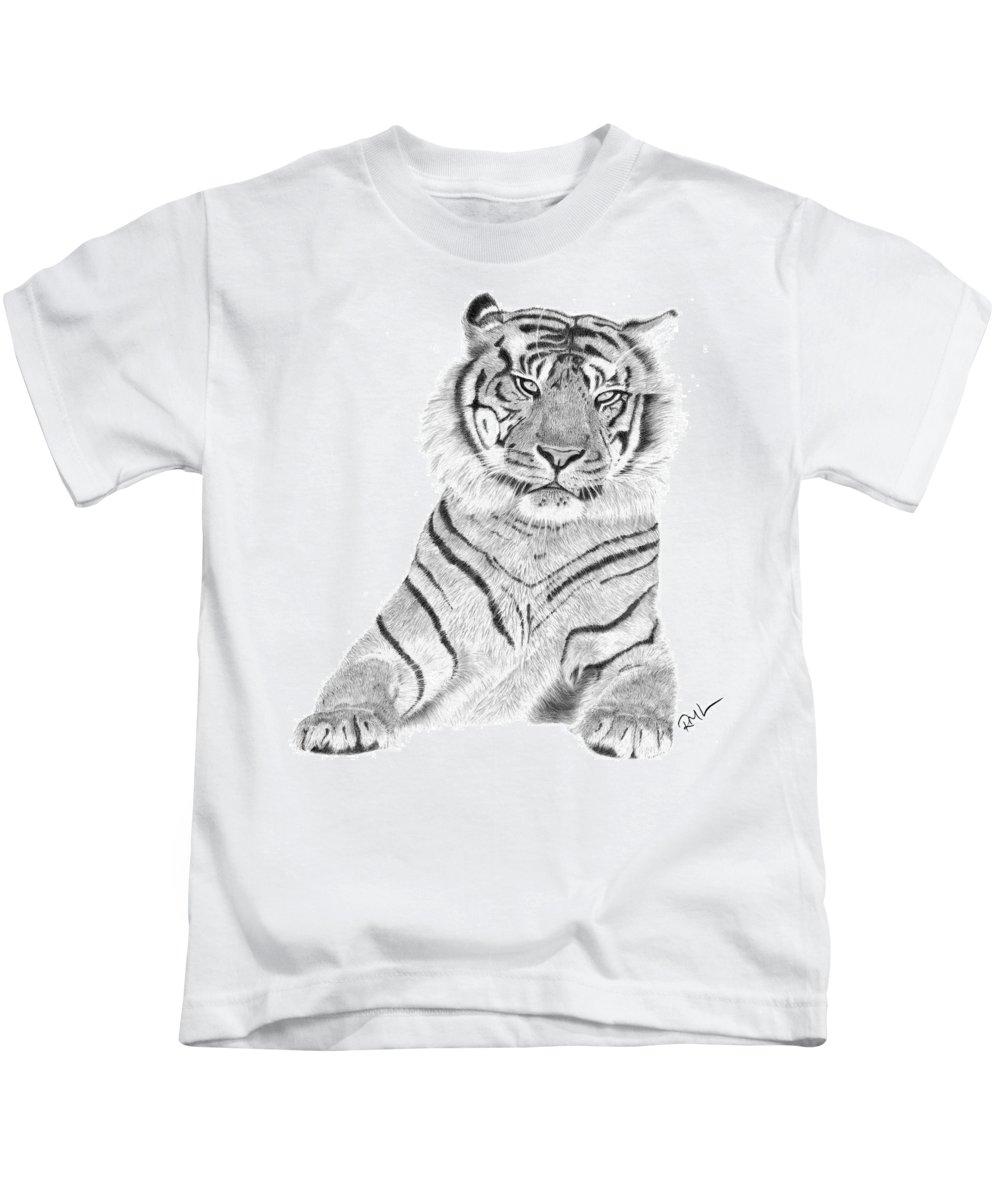 Tiger Artwork Kids T-Shirt featuring the drawing Sumatran Tiger by Rosanna Maria