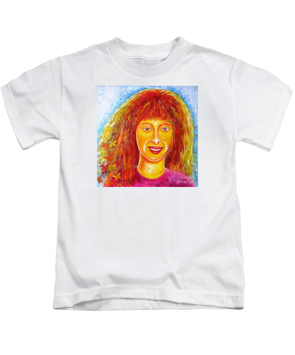 Portrait Kids T-Shirt featuring the painting Sun In Soul by Stella Velka