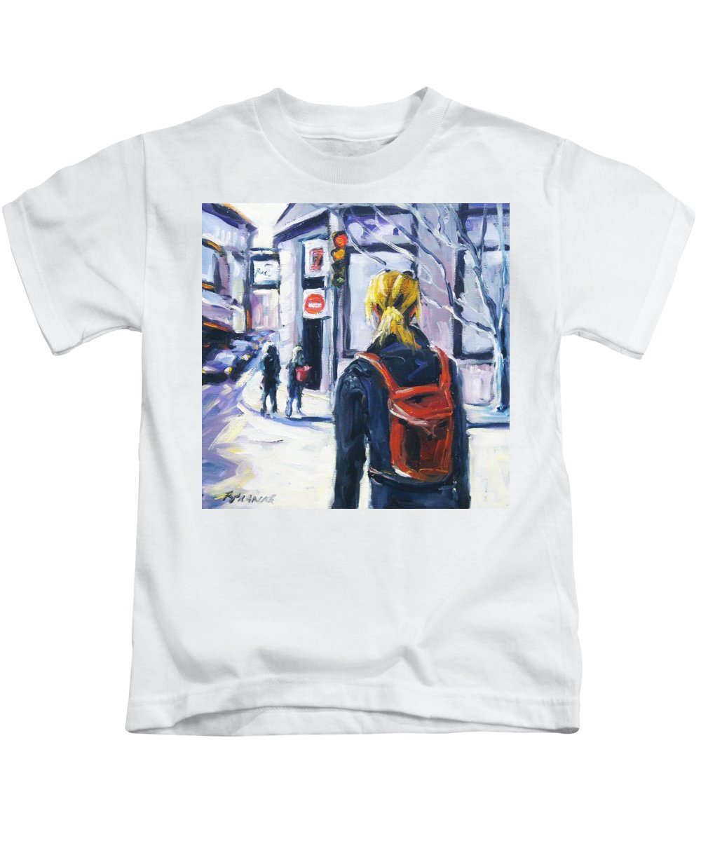 Urban Kids T-Shirt featuring the painting Sunday Afternoon by Richard T Pranke