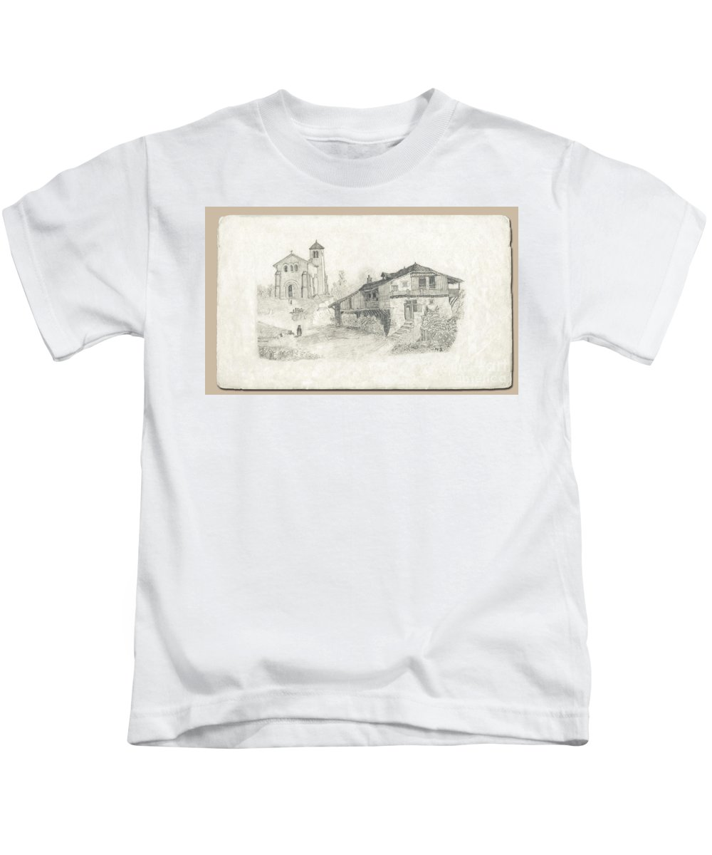 James Wharton Kids T-Shirt featuring the drawing Sunday Service by Donna L Munro