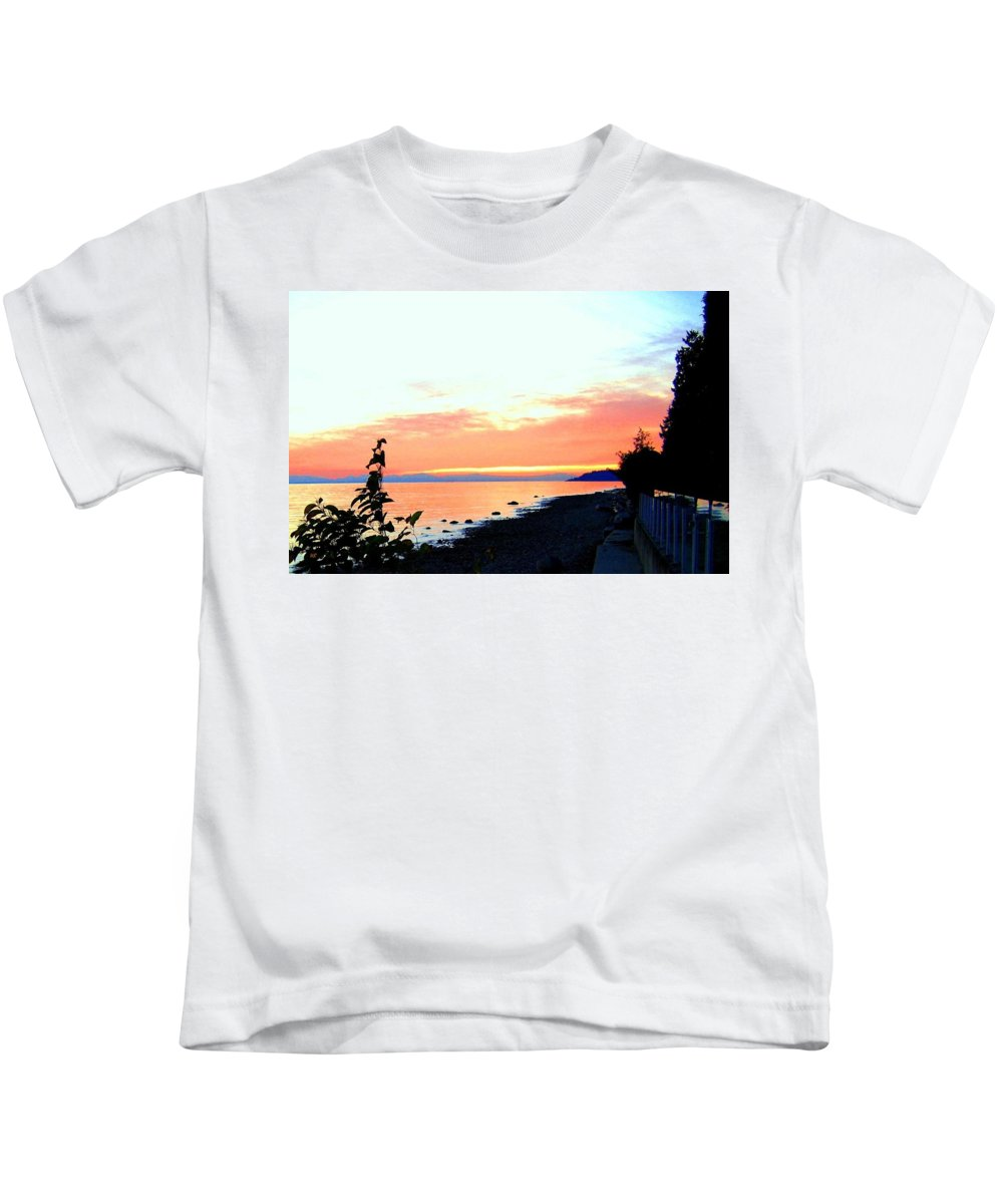 Sunset Kids T-Shirt featuring the photograph Sundown From West Vancouver by Will Borden