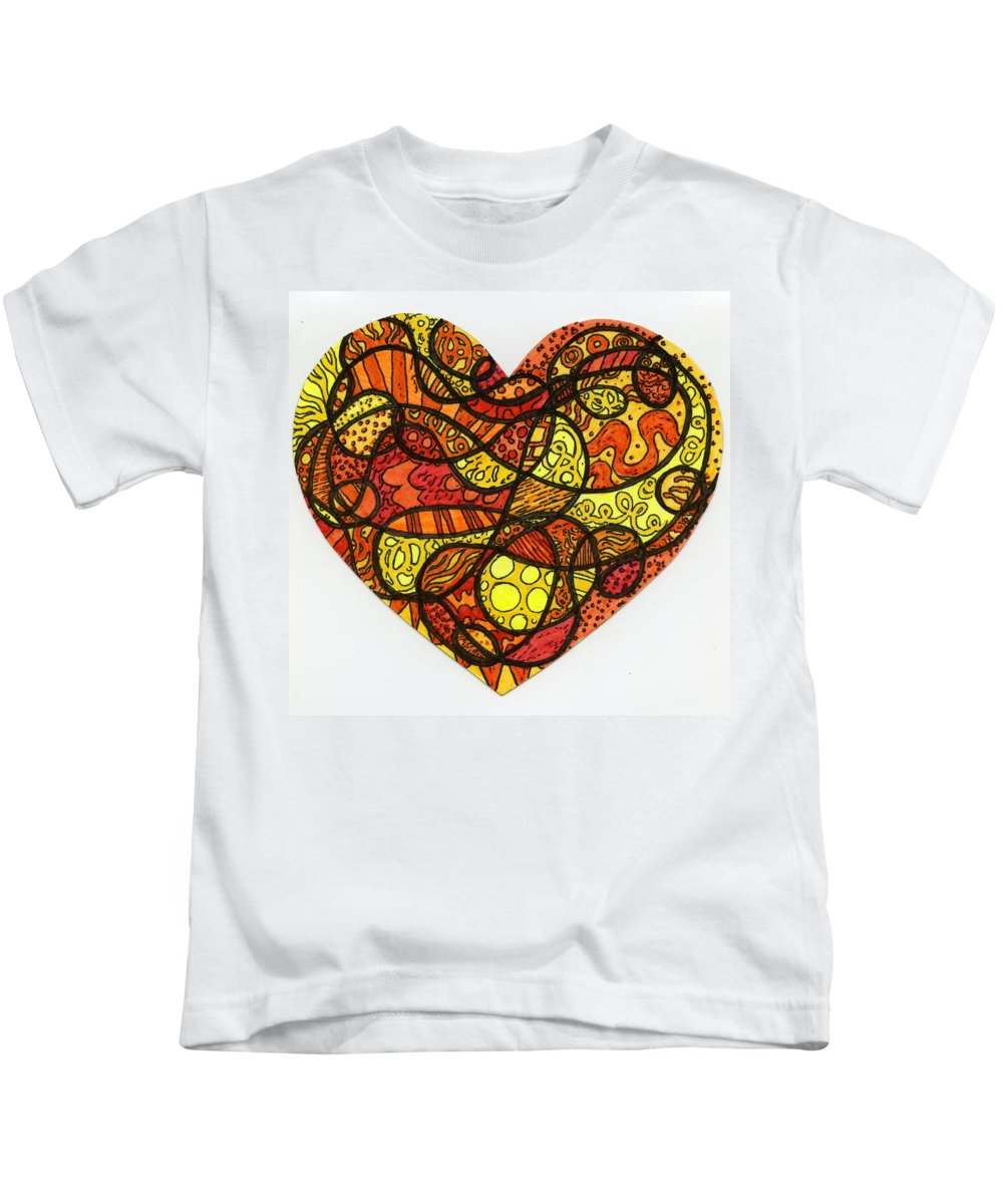 Heart Kids T-Shirt featuring the drawing Sunflower by Sarah Davis