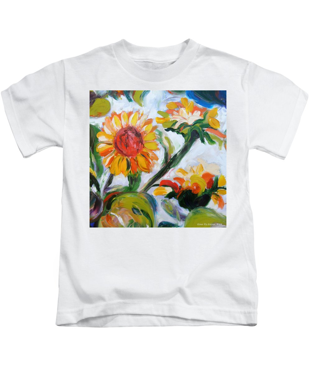 Flowers Kids T-Shirt featuring the painting Sunflowers 5 by Gina De Gorna