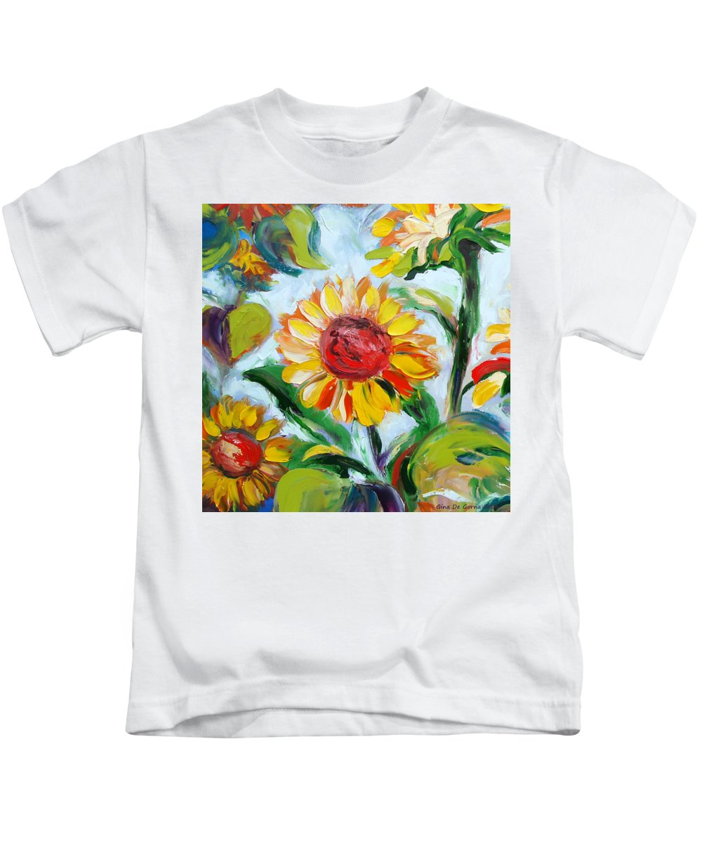 Flowers Kids T-Shirt featuring the painting Sunflowers 6 by Gina De Gorna