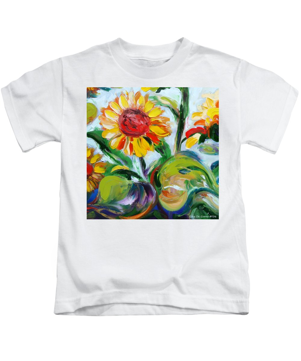 Flowers Kids T-Shirt featuring the painting Sunflowers 9 by Gina De Gorna
