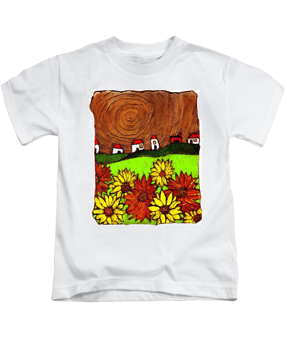 Flowers Kids T-Shirt featuring the painting Sunflowers And Fields by Wayne Potrafka