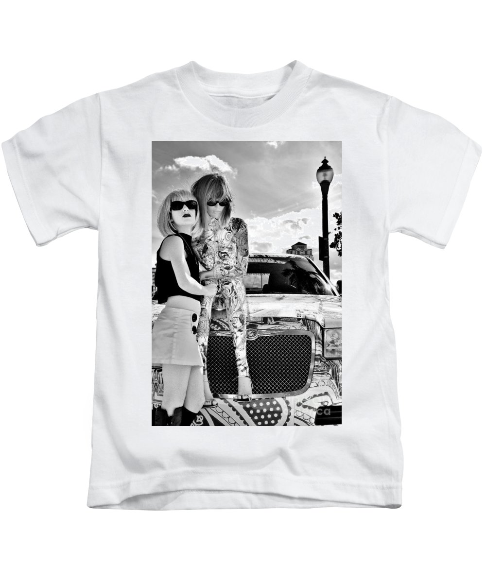 Blonde Kids T-Shirt featuring the photograph Sunglass Gazers by Lisa Renee Ludlum