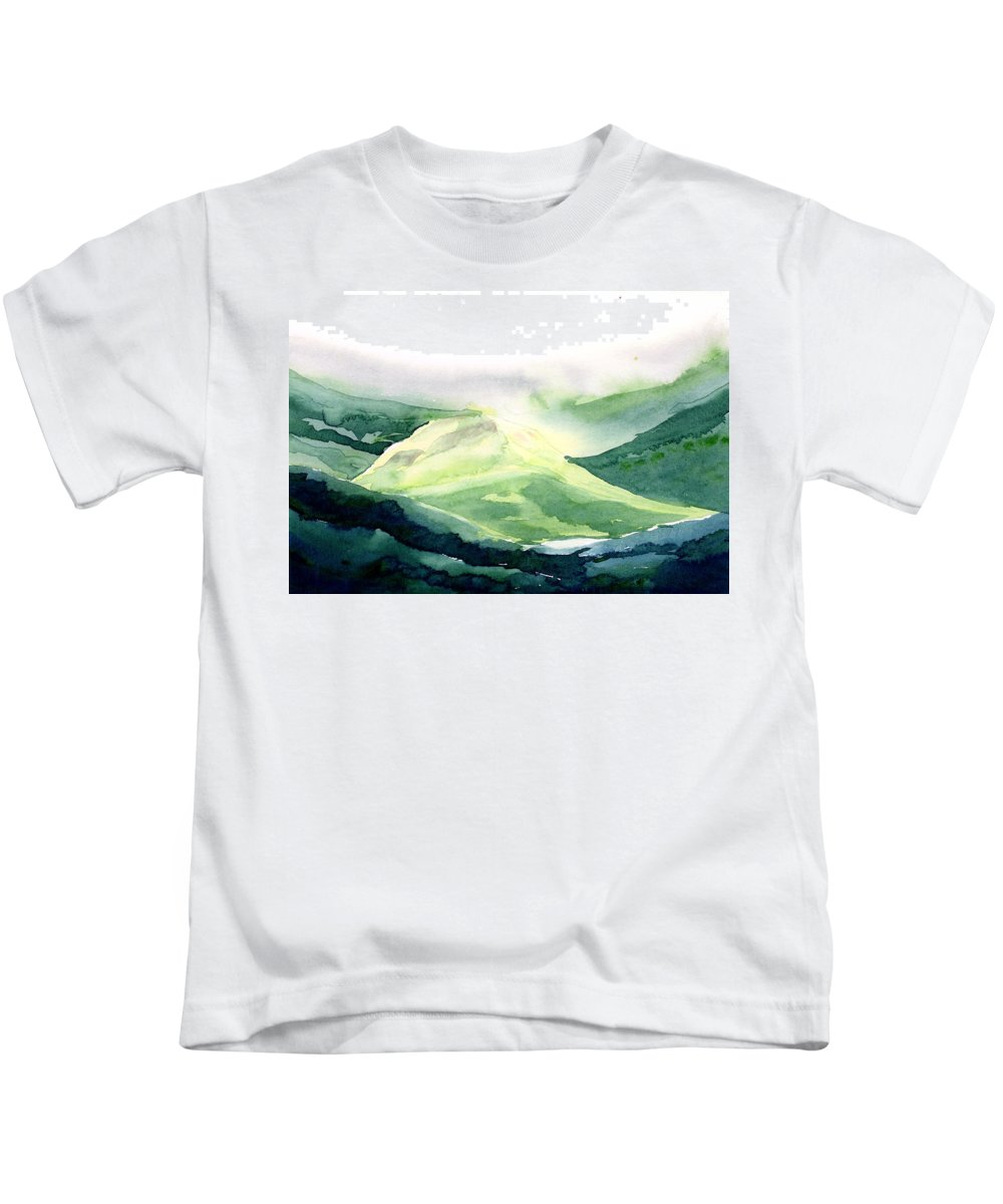 Landscape Kids T-Shirt featuring the painting Sunlit Mountain by Anil Nene