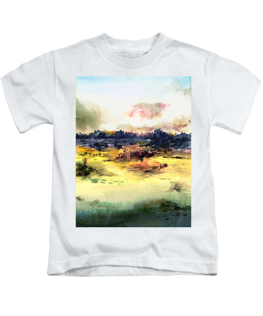 Landscape Water Color Sky Sunrise Water Watercolor Digital Mixed Media Kids T-Shirt featuring the painting Sunrise by Anil Nene