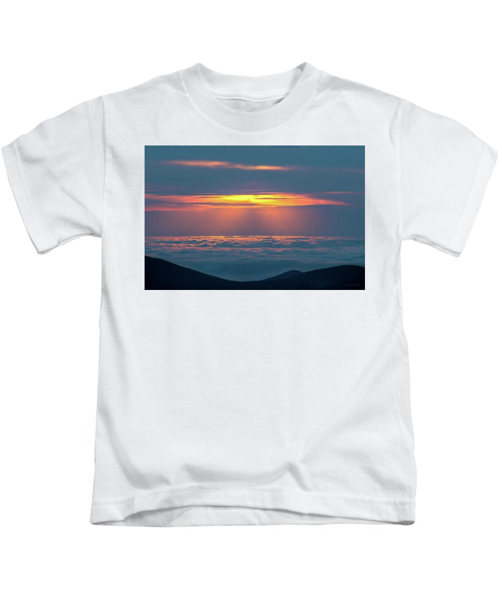 Sunrise Kids T-Shirt featuring the photograph Sunrise At The Top Of The World by Judi Dressler
