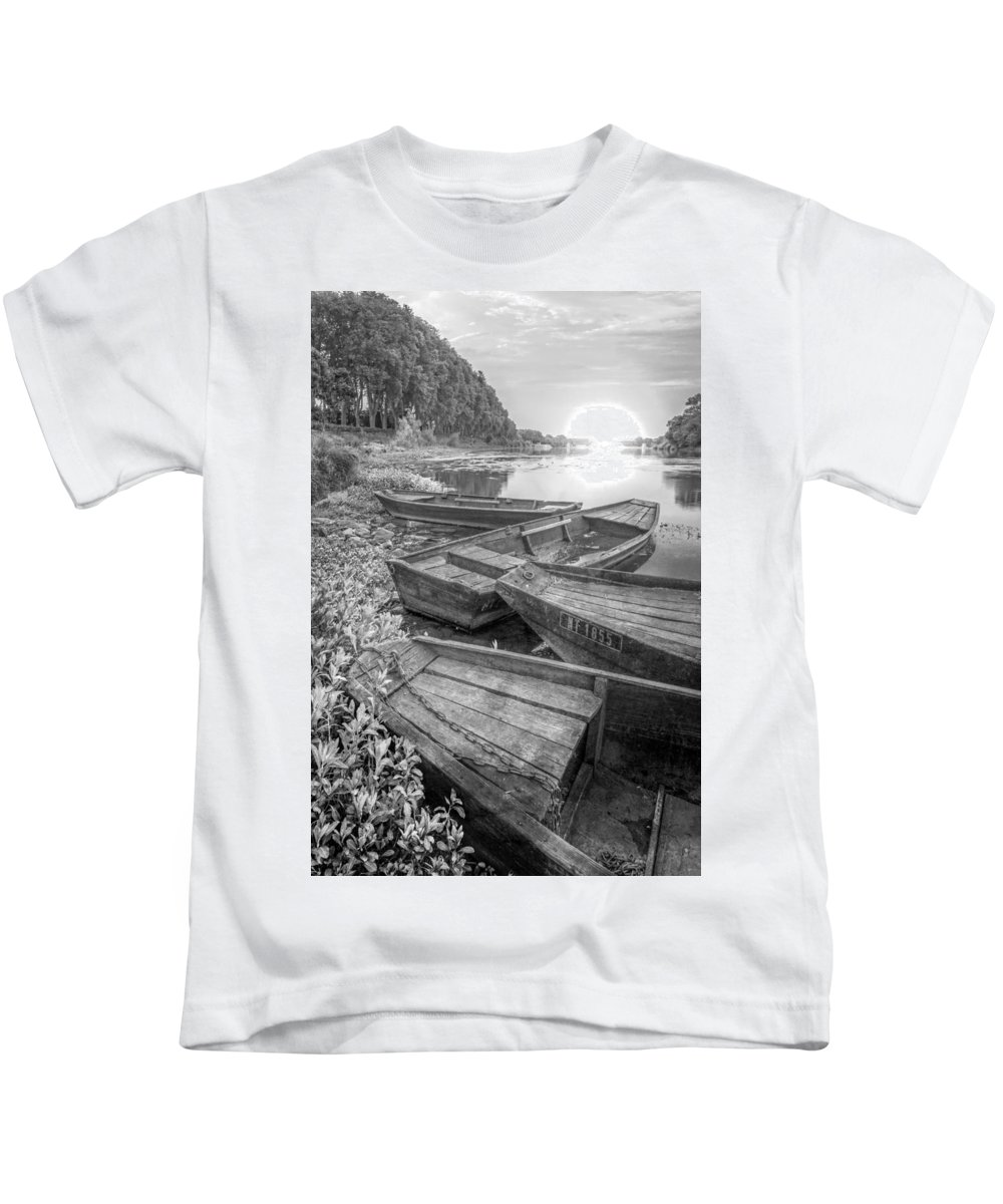Boats Kids T-Shirt featuring the photograph Sunrise Rowboats In Black And White by Debra and Dave Vanderlaan