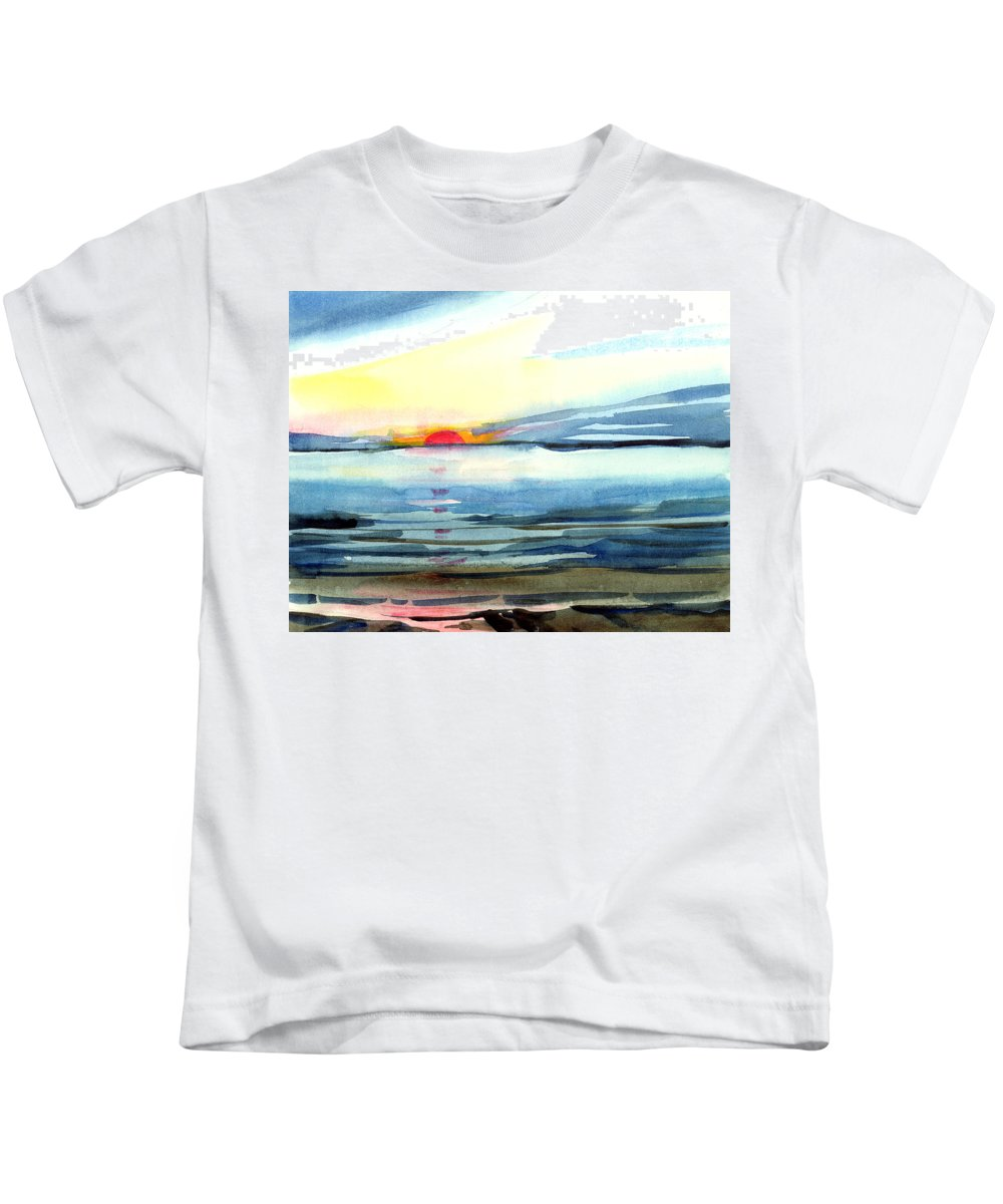 Landscape Seascape Ocean Water Watercolor Sunset Kids T-Shirt featuring the painting Sunset by Anil Nene