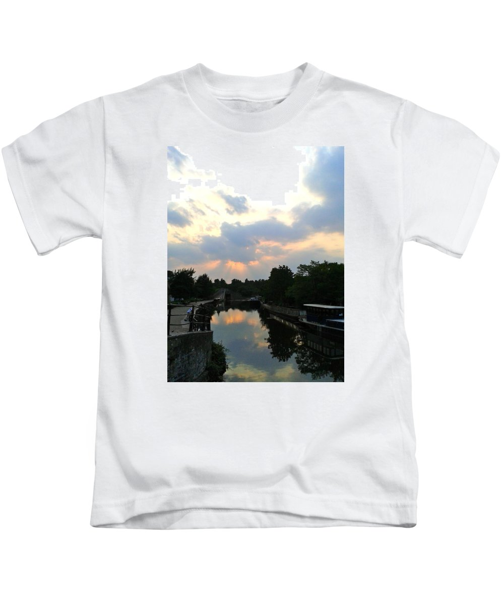 Sunsets Kids T-Shirt featuring the photograph Sunset Over The Canal At Ladbroke Grove. by Steve Swindells