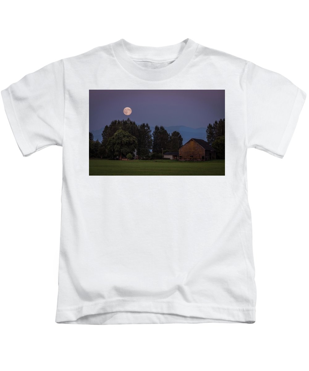Snohomish Kids T-Shirt featuring the photograph Super Moon Over Snohomish by Jon Reiswig