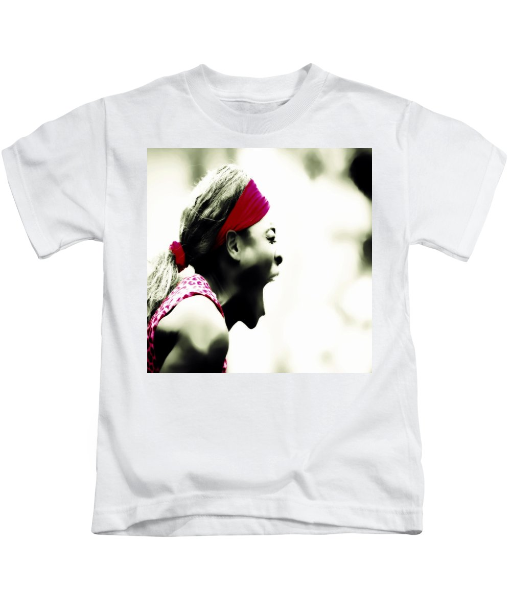 Serena Williams Kids T-Shirt featuring the digital art Serena Williams 03c by Brian Reaves