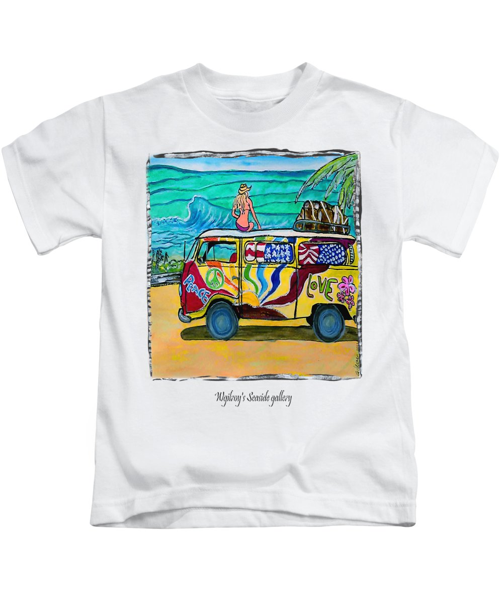 Vw Bus Kids T-Shirt featuring the painting Surf Art/vw Bus by W Gilroy