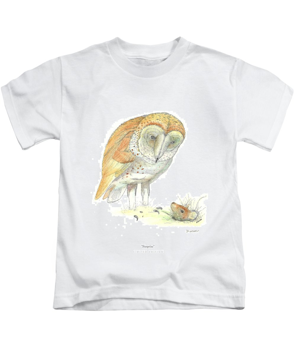 Owl Standing Over Field Mouse Kids T-Shirt featuring the drawing Surprise by David Weaver