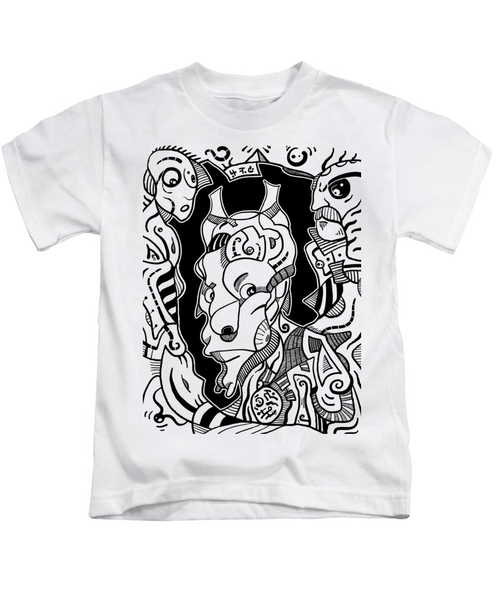 Illustration Kids T-Shirt featuring the drawing Surrealism Pagan Black And White by Sotuland Art