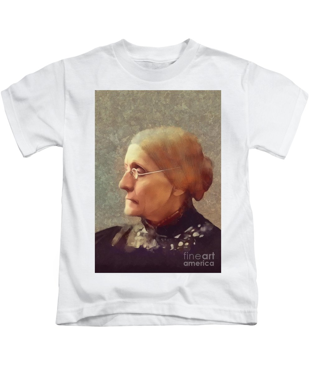 Susan Kids T-Shirt featuring the painting Susan B. Anthony, Suffragette by Mary Bassett