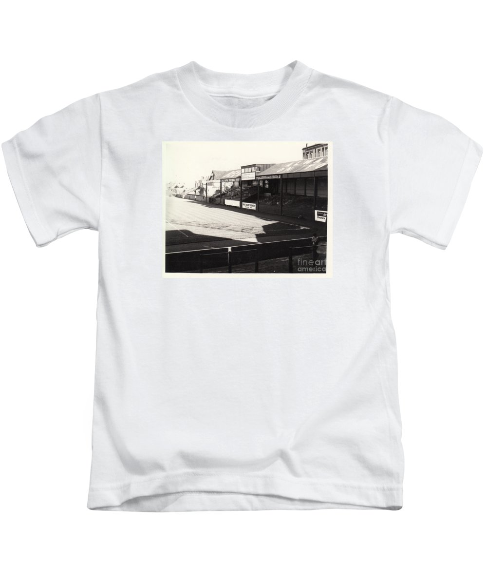 Kids T-Shirt featuring the photograph Swansea - Vetch Field - North Bank 1 - Bw - 1960s by Legendary Football Grounds