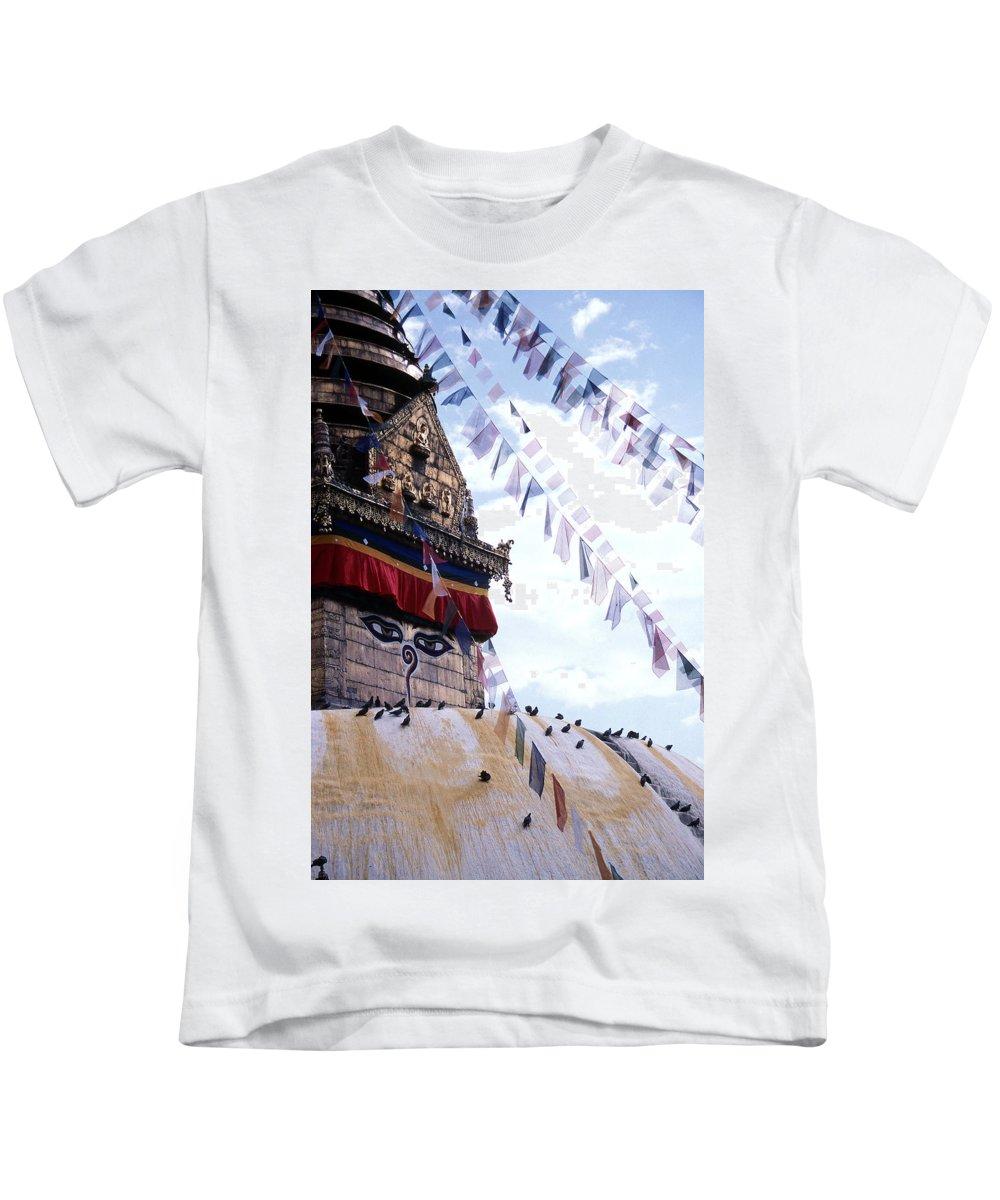 Swayambhunath Stupa Kids T-Shirt featuring the photograph Swayambhunath II by Patrick Klauss