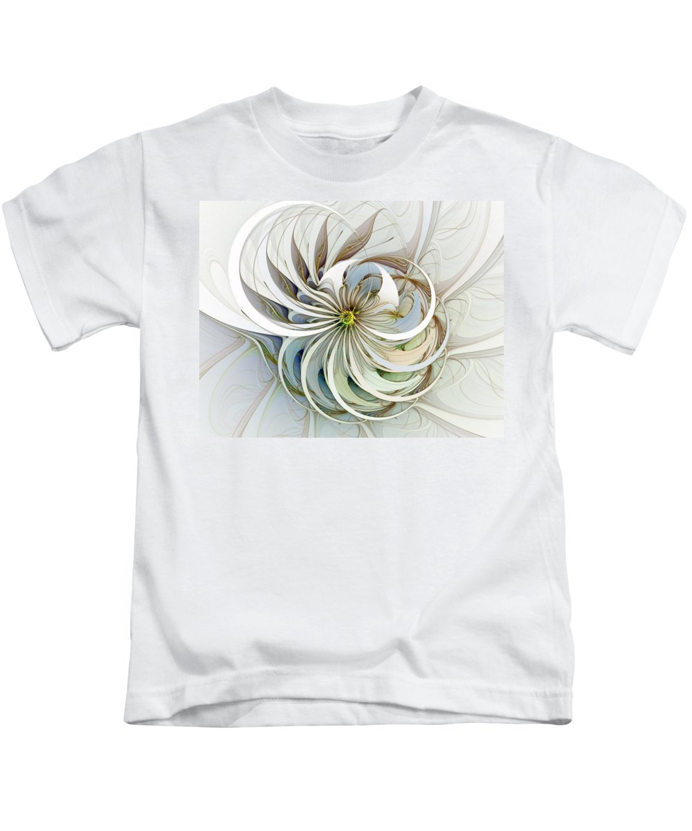 Digital Art Kids T-Shirt featuring the digital art Swirling Petals by Amanda Moore