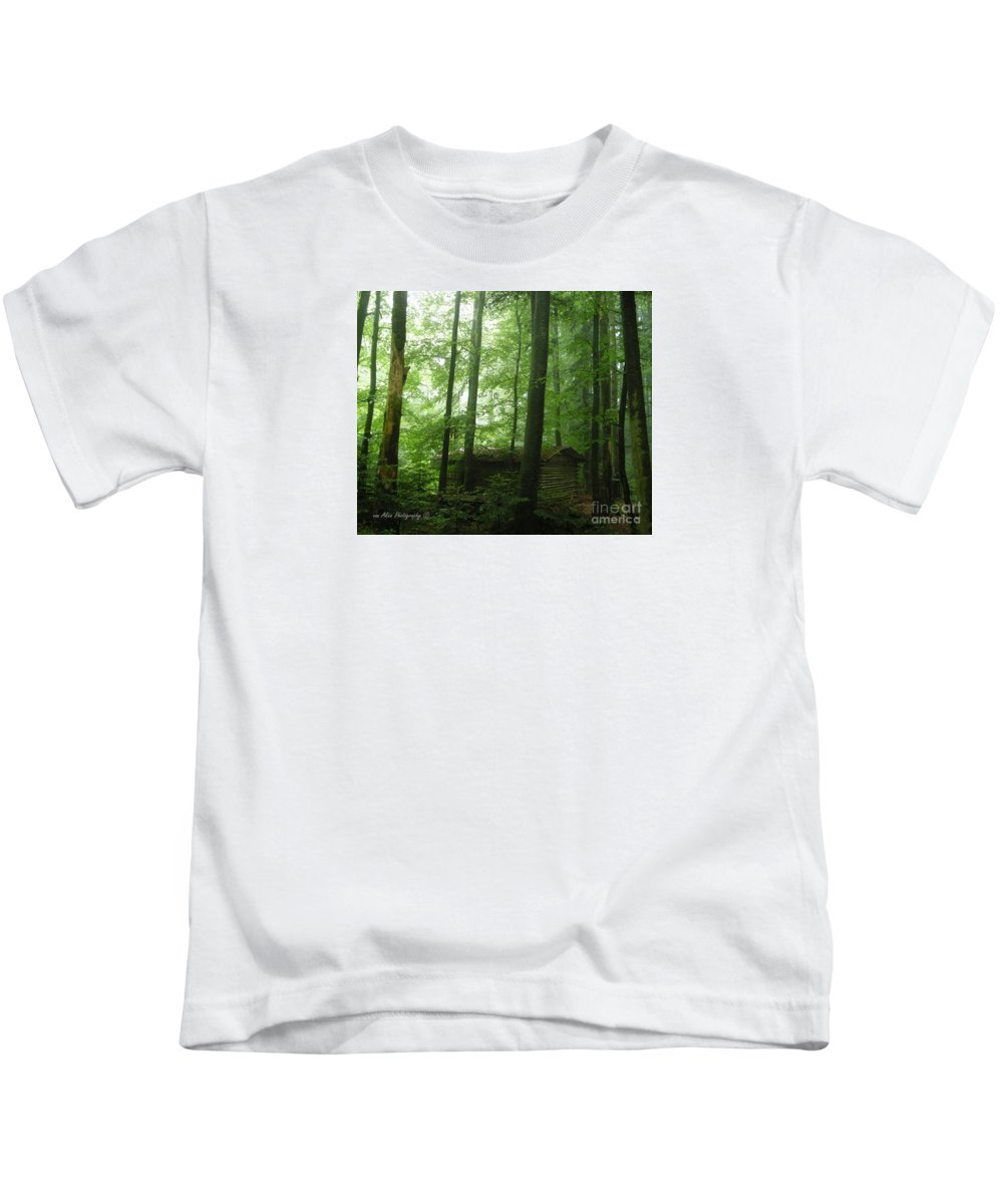 Nature Kids T-Shirt featuring the photograph Swiss Forest Cabin by Mikhael van Aken