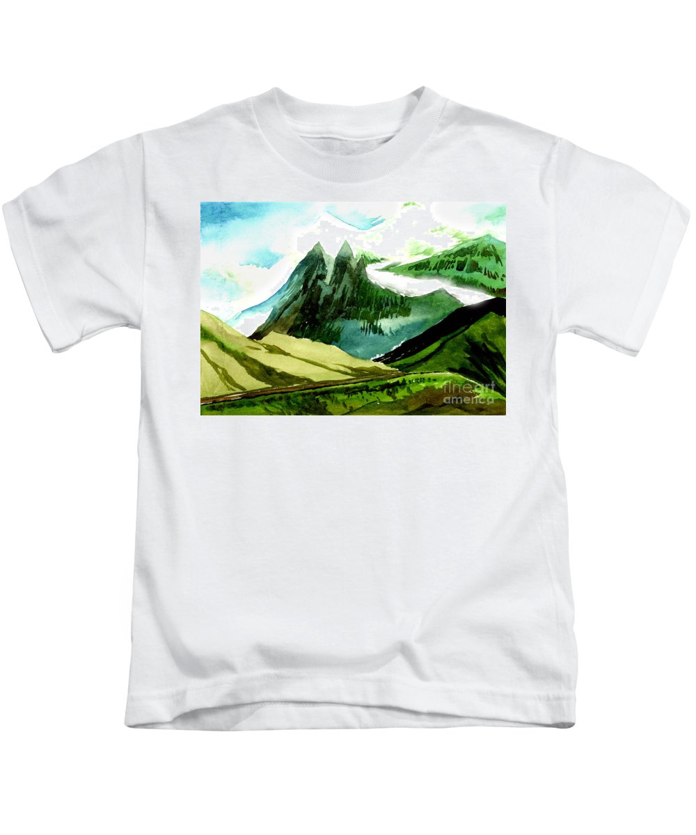 Landscape Kids T-Shirt featuring the painting Switzerland by Anil Nene