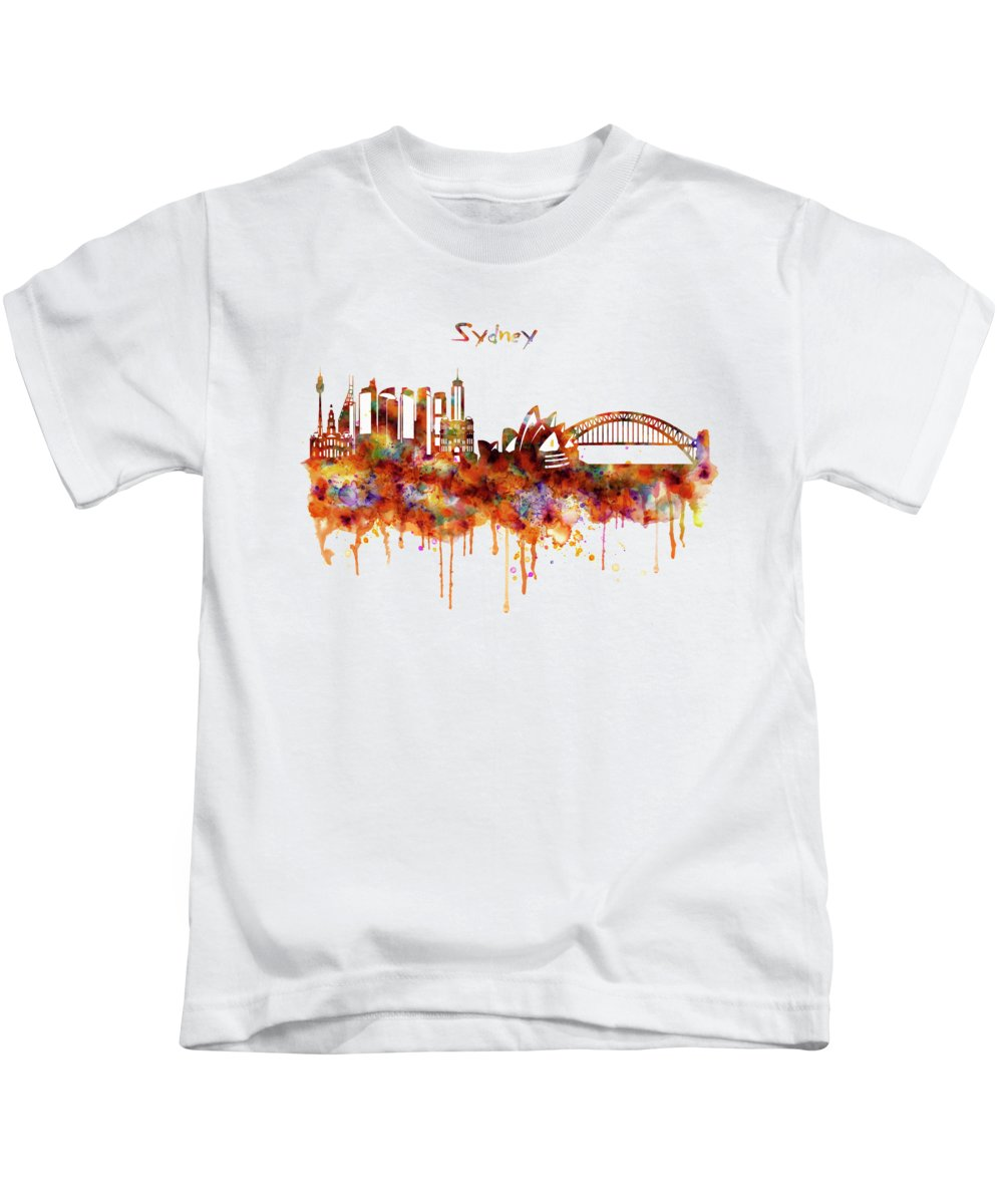 Sydney Kids T-Shirt featuring the painting Sydney Watercolor Skyline by Marian Voicu