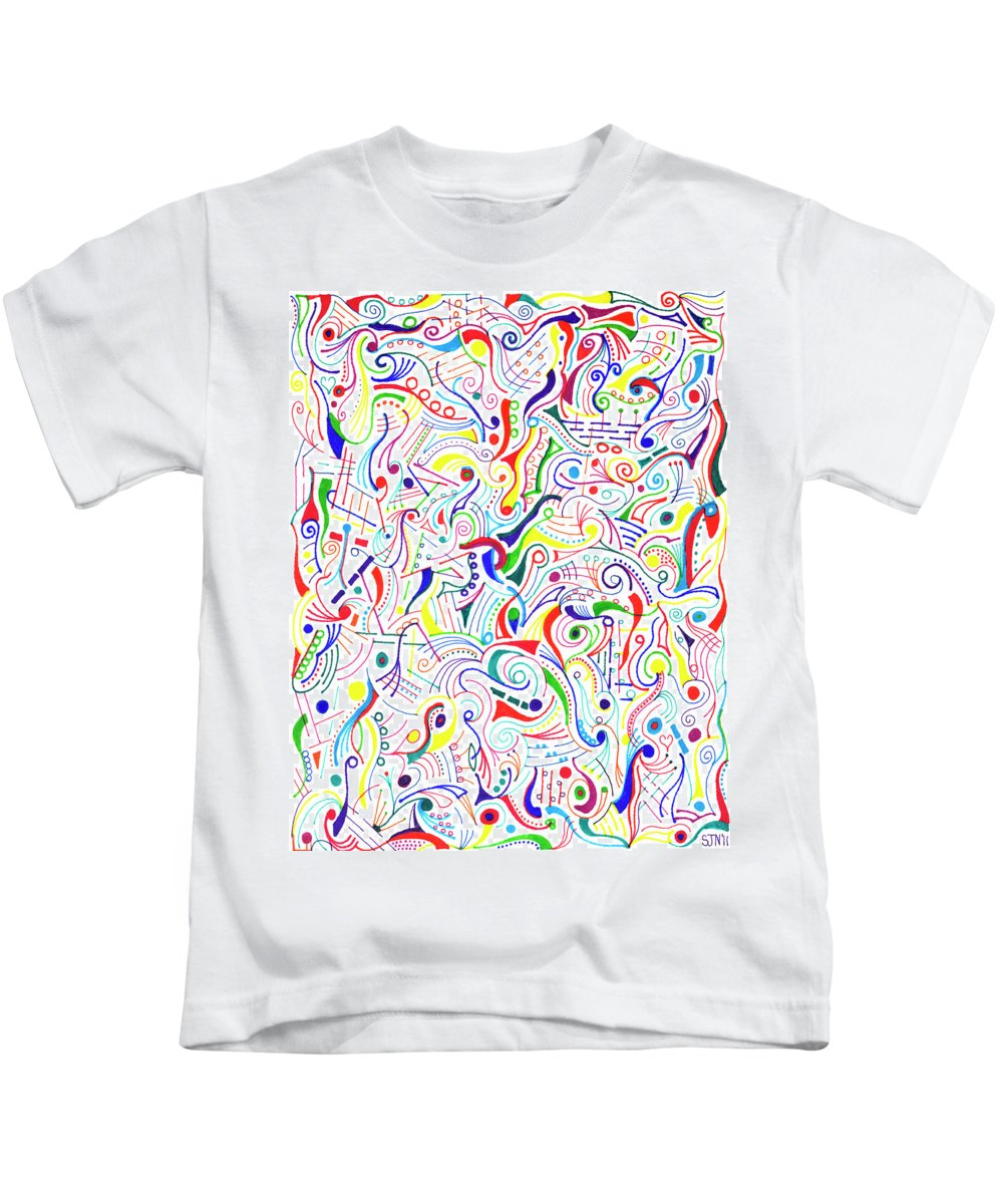 Mazes Kids T-Shirt featuring the drawing Synesthesia by Steven Natanson