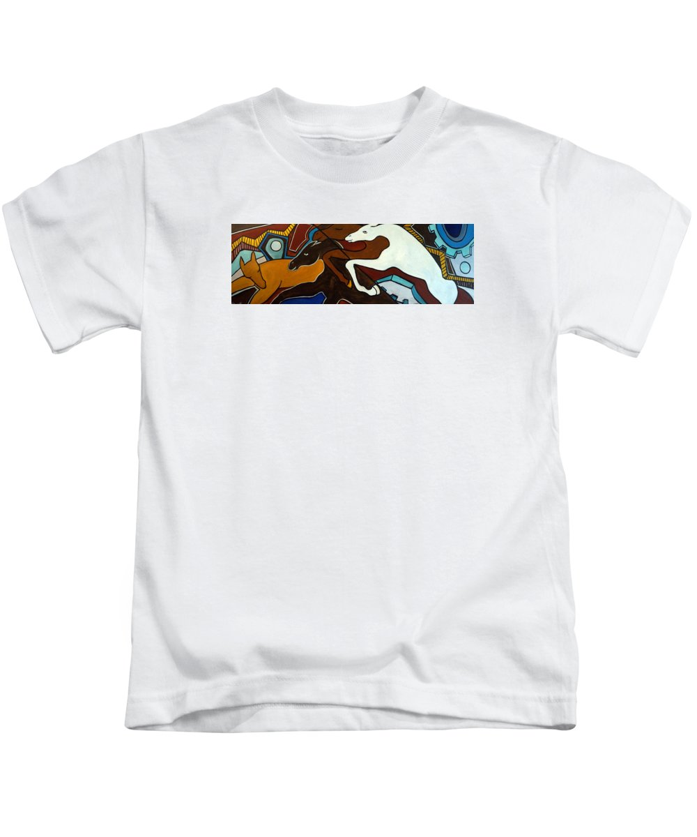 Horse Abstract Kids T-Shirt featuring the painting Taffy Horses by Valerie Vescovi