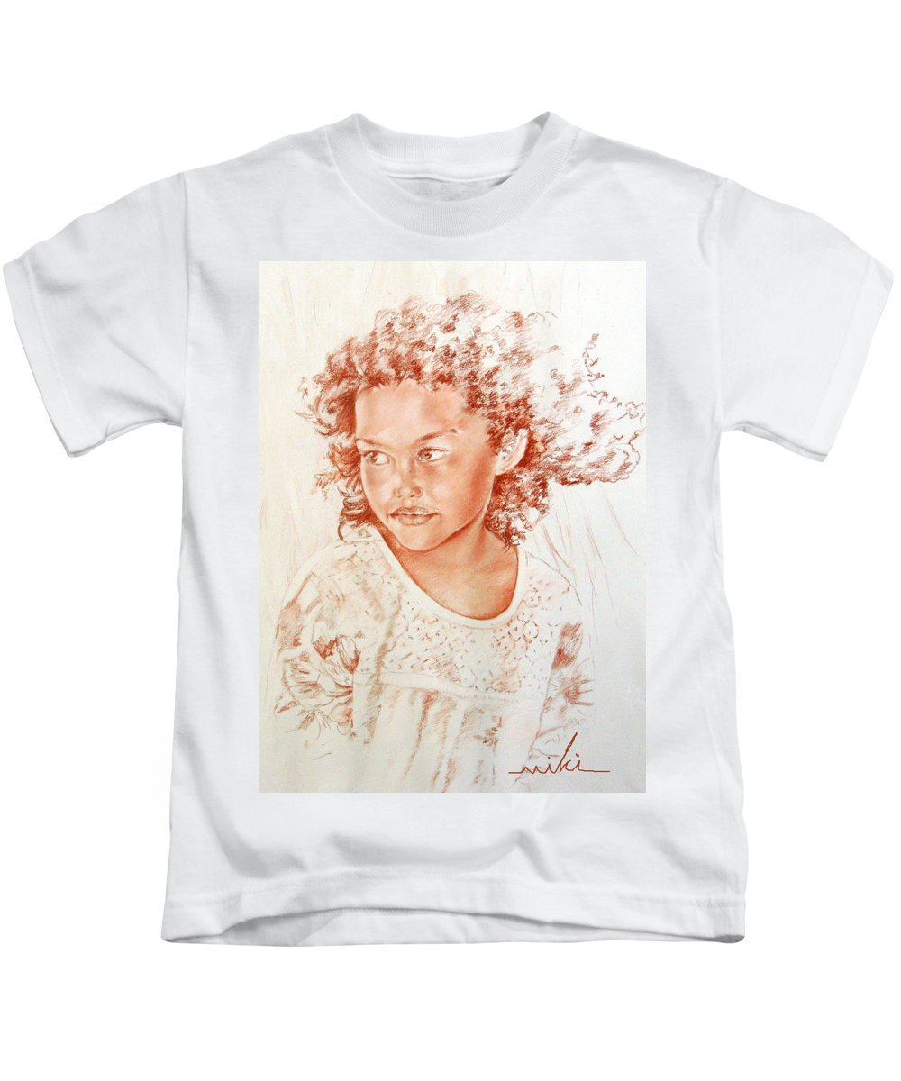Drawing Persons Kids T-Shirt featuring the painting Tahitian Girl by Miki De Goodaboom