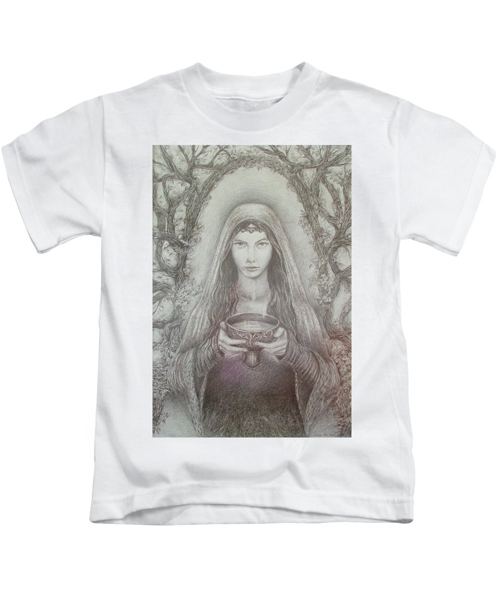 Girl Kids T-Shirt featuring the drawing Take A Bowl Of Your Happiness by Rita Fetisov